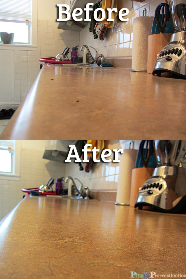 Natural Homemade All Purpose Cleaner Counters Before and After