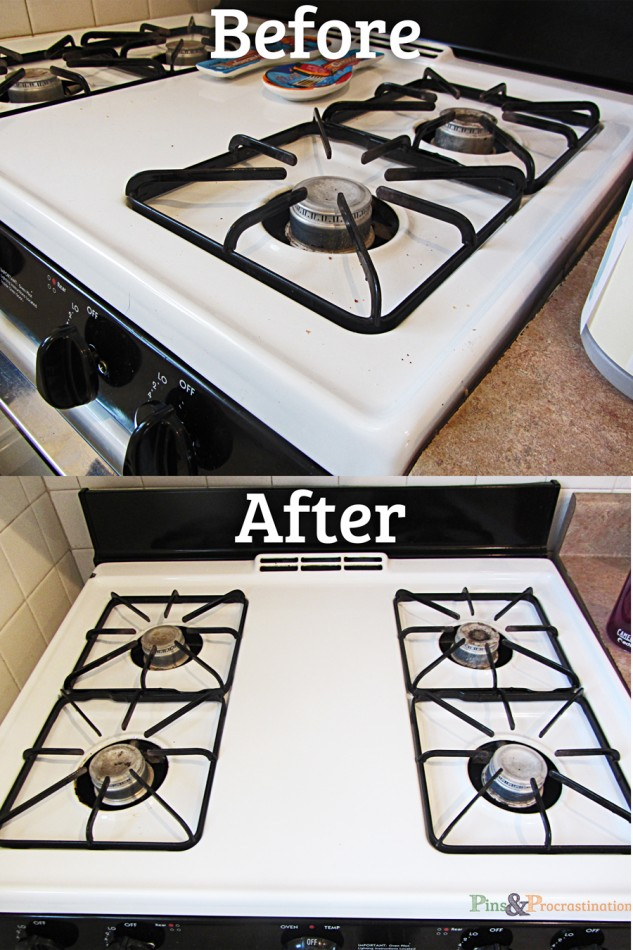 Natural Homemade All Purpose Cleaner Stove Before and After