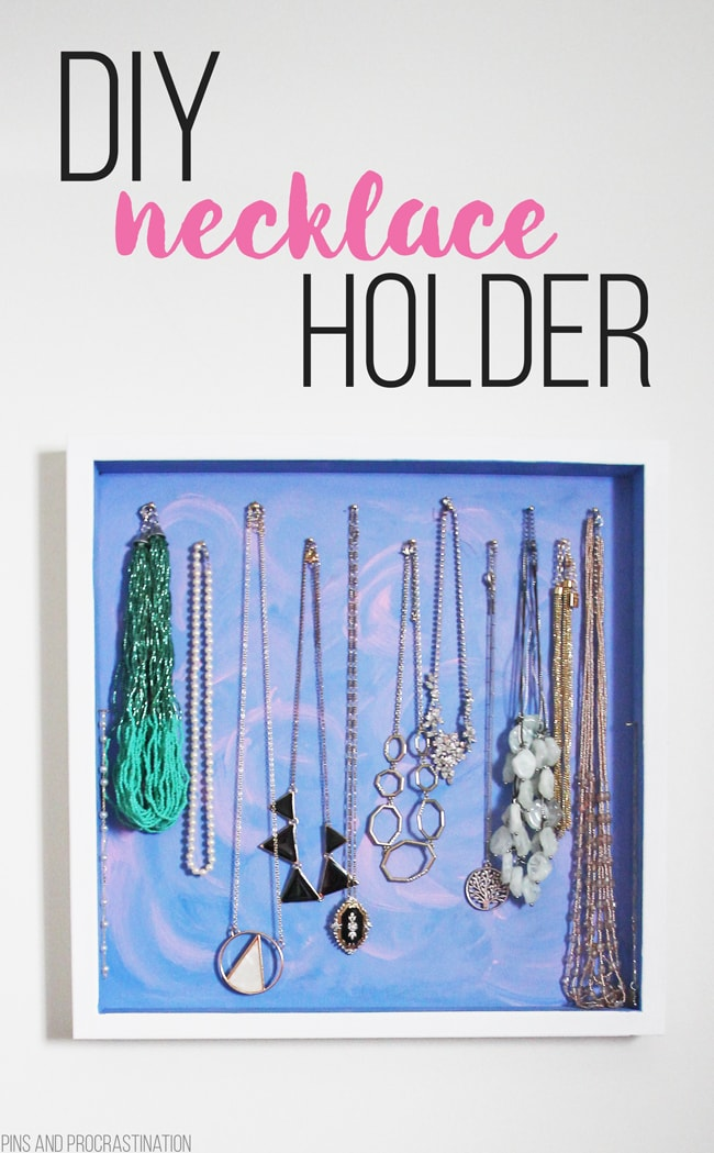 I've been terrible at organizing my necklaces- they always get disordered and tangled. I wanted an easy organizer that made it easy to find and put my necklaces away. So I got to DIY-ing, and came up with this DIY necklace holder. And it has been working great for me! Not only is it effective for organizing, the DIY necklace hanger looks attractive and brightens up my closet. Add to it the fact that it took me about 20 minutes total to make, hang, and add all my necklaces, and I couldn't be happier!