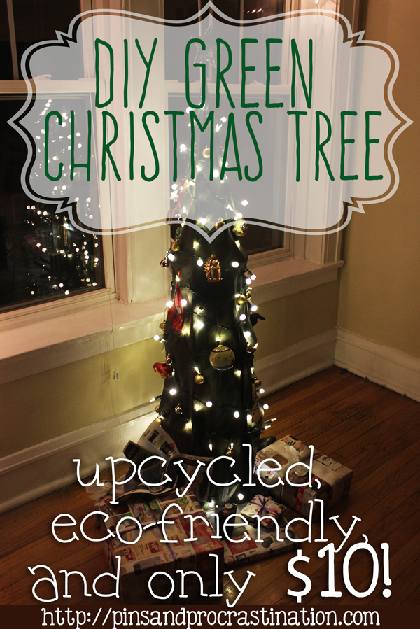 DIY Green Christmas Tree: Upcycled, eco-friendly, and only $10! If you're looking for a sustainable christmas tree, you should check this one out. Alternative christmas trees can be hard to find, but this one is so easy to make and so inexpensive!