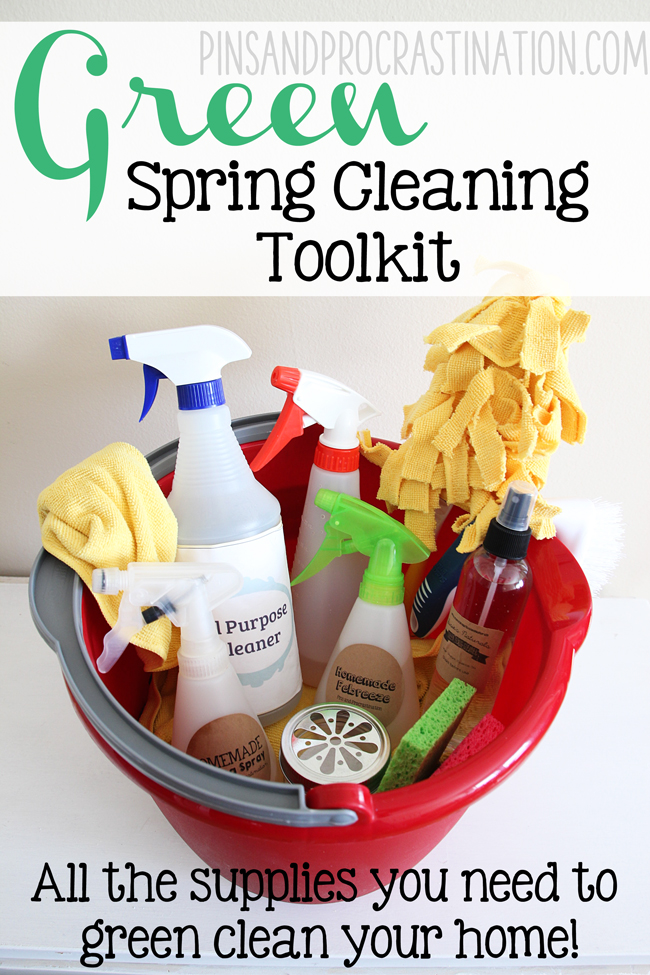 Green cleaning doesn't have to be difficult! If you want to use green cleaning this spring- this is the perfect toolkit for you. It goes over the best green cleaning supplies that you need on hand.
