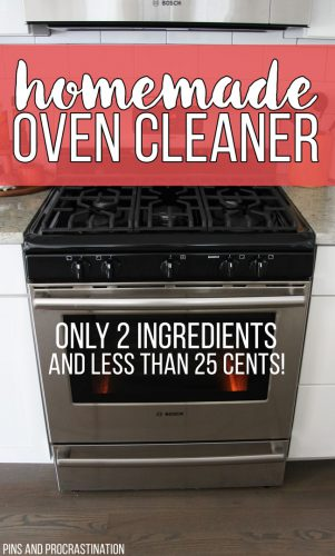 My oven gets so dirty and I am terrible at cleaning it, which is why I love this easy green cleaning solution. With only 2 ingredients it is such a simple and easy homemade oven cleaner! Plus, you can't beat a price of 25 cents. My oven is sparkly and clean now!