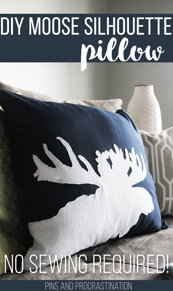 About two months ago I had one of those rare DIY inspirations- where you are suddenly struck with an idea that you know will work and you have to get to it right away. That's how I made this DIY moose pillow! And I was right to be inspired. It has turned into one of my favorite projects and a new decor staple in our home. All for less than 30 minutes of work and $15. And no sewing either! That's a DIY pillow I can get on board with. So keep reading to follow along with how to make this awesome (and easy) DIY moose silhouette pillow!