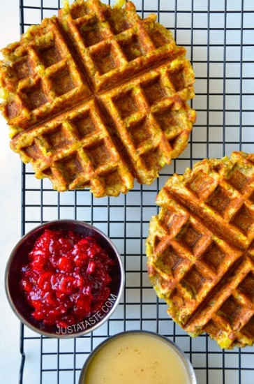 thanksgiving-leftover-stuffing-waffles-recipe just a taste