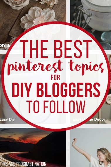 If you blog about DIY, home decor, crafts, green cleaning, or natural beauty products, you HAVE to read this. These are all the best pinterest topics for you to follow to get more relevant pins in your home feed, and to get your pins seen more! If you want to improve your pinterest performance, definitely read this.