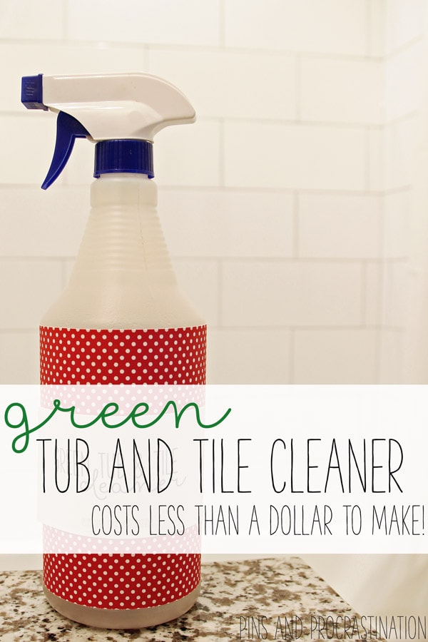 We all have tubs and tiles in our home. And they can be a really challenge to clean- soap scum and hard water marks can be tough to deal with. But tub and tile cleaners that you can buy in the store are sometimes made with ingredients that I just don't feel great about using. So I needed to find an alternative, and I did! This homemade tub and tile cleaner is easy to make, effective, green, and costs less than one dollar!